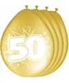 50 jaar versiering metallic gouden ballonnen 8 stuks