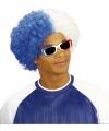 Fan pruik in wit/blauw