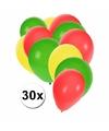 Ballonnen groen/geel/rood 30 stuks