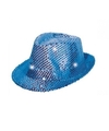 Pailletten hoedje blauw met LED licht