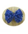 Glitter strik haarklem blauw