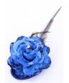 Haar accessoire glitter bloem blauw