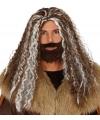 Viking pruik bruin met grijs voor heren