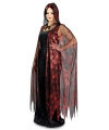 Rode heksen cape met rode spinnenweb print 130 cm
