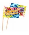 Kinderfeest prikkers Happy Birthday 24 stuks