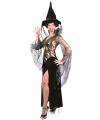 Heksen dames outfit zwart met goud