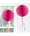 Feestversiering fel roze decoratie bol 30 cm