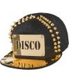Zwarte disco cap met gouden versiering