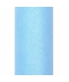 Glitter tule stof lichtblauw 15 cm breed