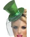 Glitter hoedje groen met elastiek