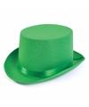 Hoge hoed groen satijn