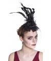 Zwarte vintage haarband met sluier en roos