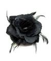 Corsage met zwarte roos glitters en veren