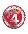 4 jaar helium ballon Happy Birthday