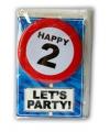 Happy Birthday leeftijd kaart 2 jaar