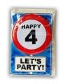 Happy Birthday leeftijd kaart 4 jaar