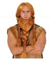 Vikingen verkleedpruik rood met baard