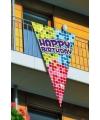 Happy Birthday vlag in puntvorm