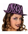 Party hoeden paars zebra