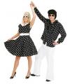 Jaren 50 rock n roll jurk zwart/wit