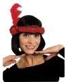 Rode hoofdband met veer en roos