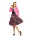 Kort roze pluche jasje voor dames