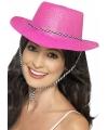 Roze party cowboy hoeden