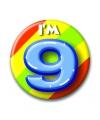 Verjaardags button I am 9