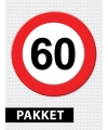 60 jarige verkeerbord decoratie pakket