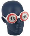 Verjaardagbril met 16 verkeersbord
