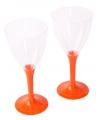 Plastic wijnglazen oranje 20 stuks