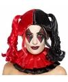 Zwart/rode Harley look-a-like damespruik met staarten